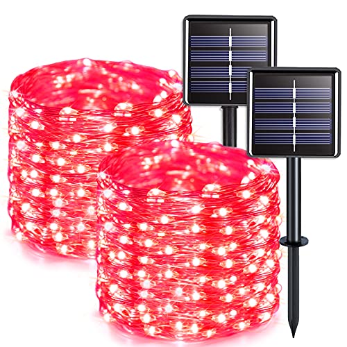JMEXSUSS 2 Pack Red Solar String Lights Outdoor Waterproof 33ft 100 LED Solar Fairy Lights 8 Modes Silver Wire Decoration Solar Christmas Lights for Patio Yard Tree Garden Wedding Party Halloween