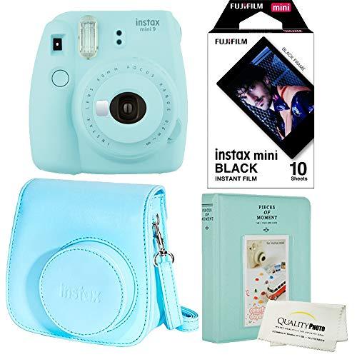 Fujifilm Instax Mini 9 Polaroid Ice Blue Instant Camera Plus Original Fuji Case, Photo Album and Fujifilm Black 10 Films