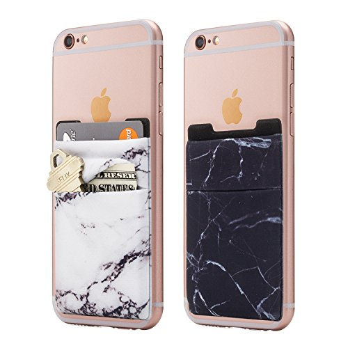 (Two) Stretchy Marble Cell Phone Stick On Wallet Card Holder Phone Pocket for iPhone, Android and All Smartphones. (Black/White)