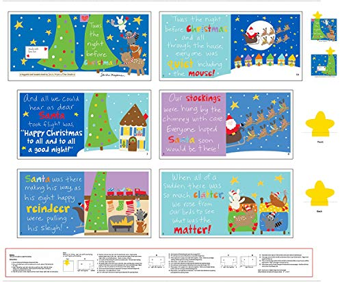 'TWAS The Night Before Christmas Children's One Yard Fabric Cloth Book Panel, Huggable and Lovable Collections by Studio E Fabrics ('TWAS The Night Before Christmas, Panel Only)