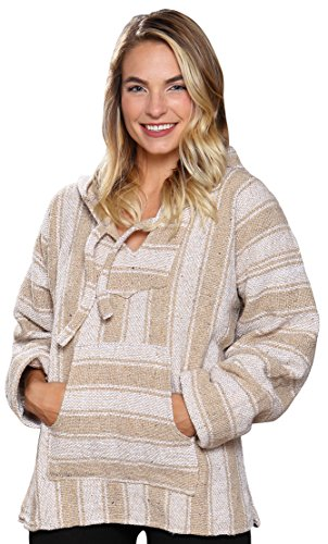 El Paso Designs (TM Classic Mexican Baja Hoodie Pullover Poncho (XX-Large, Beige)