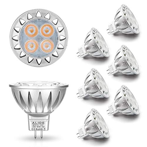 ALIDE MR16 Led Bulbs 5W Replace 20W 35W Halogen Equivalent,2700K Soft Warm White,12V Low Voltage MR16 GU5.3 Bulb Spotlights for Outdoor Landscape Flood Track Lighting,Not Dimmable,450lm,38 Deg,6 Pack