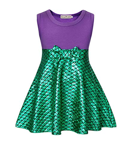 HenzWorld Little Girls Dresses Princess Mermaid Costume Dress Up Fish Scale Mini Skirt Birthday Party Cosplay Holiday Tank Tops Patchwork Purple Green Outfits Kids Age 5-6 Years