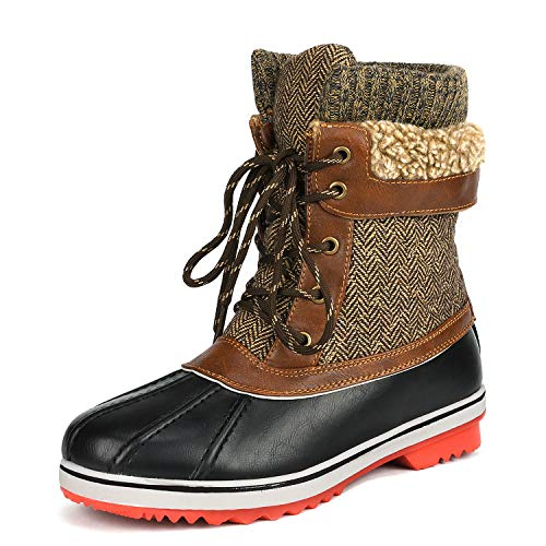 DREAM PAIRS Women's Monte_01 Brown Mid Calf Winter Snow Boots Size 11 M US