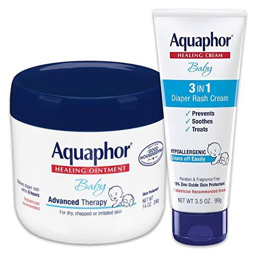 Aquaphor Baby Skin Care Set - Includes 14 Oz. Jar of Advanced Healing Ointment & 3.5 Oz Tube of Diaper Rash Cream, 2 Piece Set, 1 Count