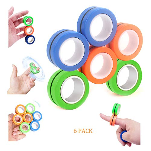 6PCS Fidget Spinner-Hand Spinners Fidget Toy-Finger Gyro Toy with Bearing Focus-Stress Relief Reducer Spin for Adults Children Game-Mini Cute Magnetic Bracelet Ring Decompression Toys