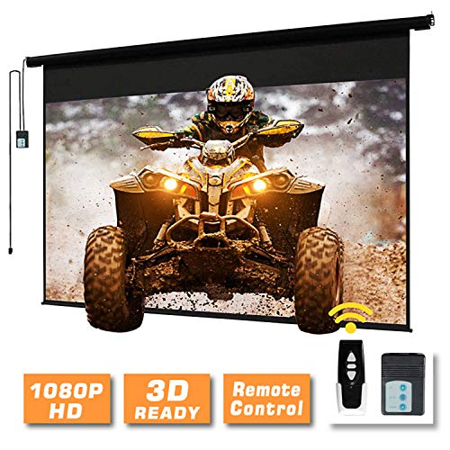 120' Motorized Projector Screen Electric Diagonal Automatic Projection 4:3 HD Movies Screen for Home Theater Presentation Education Outdoor Indoor W/Remote Control and Wall/Ceiling Mount