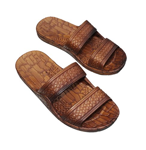 IMPERIAL SANDALS HAWAII Double Strap Jesus Style Hawaii Sandals Size 9 Women /7 Men, Unisex Sandal for Women Men and Teens Brown