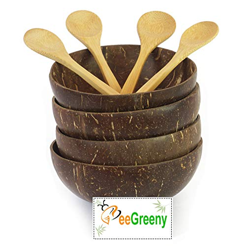 Premium Coconut Bowls with Spoons by BeeGreeny (Set of 4)   Polished With Coconut Oil   Handmade, Vegan, Natural, Eco Friendly, Reusable Bowl for Breakfast, Serving, Decoration, Party