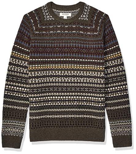 Amazon Brand - Goodthreads Men's Lambswool Stripe Crewneck Sweater, Geo Fair Isle XXX-Large