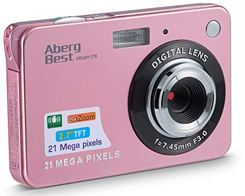 AbergBest 21 Mega Pixels 2.7' LCD Rechargeable HD Digital Camera Video Camera Digital Students Cameras,Indoor Outdoor for Adult/Seniors/Kid (Rose Gold)