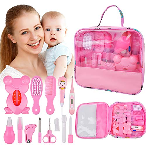 Baby Healthcare Grooming 14 Kits, 13 in 1 Baby Care Products Nail Clippers Trimmer Set, Baby Stuff Shower Gift Newborn Essentials, Comb Brush Thermometer Dispenser Nursery Care Kit for Boy Girl Infant