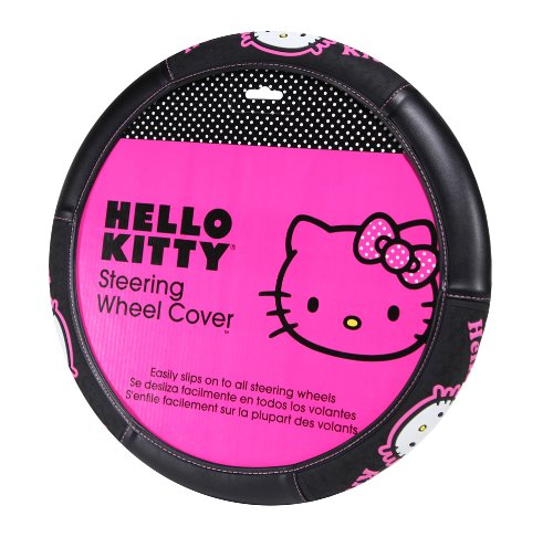 Hello Kitty Head Face with Pink Bow with Pink Script Name Word Collage Sanrio Vehicle Car Truck SUV Auto Universal Fit Steering Wheel Cover