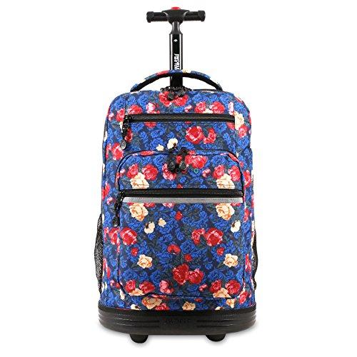 J World New York Sundance Rolling Backpack Girl Boy Roller Bookbag, Vintage Rose, One Size