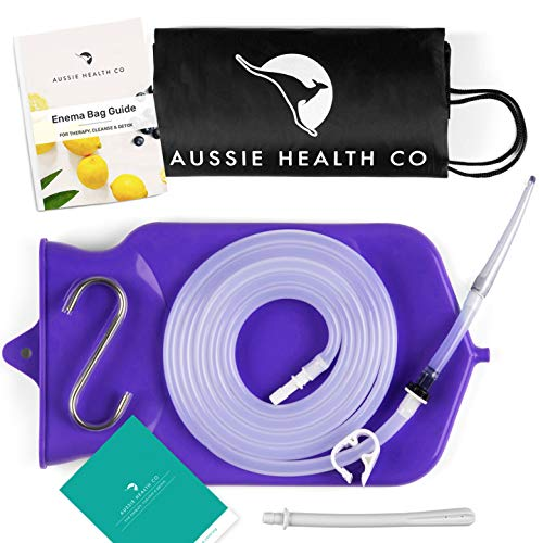 Aussie Health Co Non-Toxic Silicone Enema Bag Kit. 2 Quart Capacity. BPA & Phthalates Free. for at Home Water & Coffee Colon Cleansing. Purple Color. Includes Instruction Booklet.