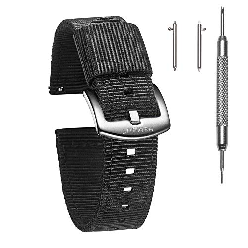 Torbollo Quick Release Watch Black Bands, 18mm Watch Band, Quality Nylon Strap and Heavy Duty Brushed Buckle