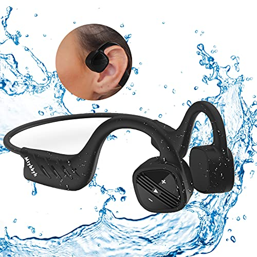 Waterproof Bone Conduction Headphones for Swimming,IPX8 Open-Ear 8GB MP3 Player Wireless Bluetooth Sports Swimming Headphones with Noise Cancelling MIC for Cycling,Hiking,Diving,Swimming,Running,Gym