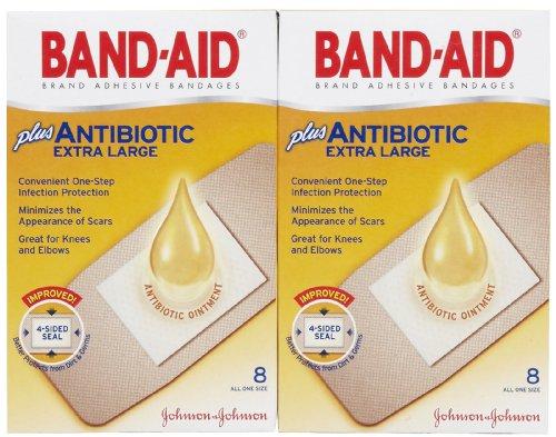 Band-Aid Antibiotic Waterproof Adhesive Bandages-8ct, Extra Large, 2 pk