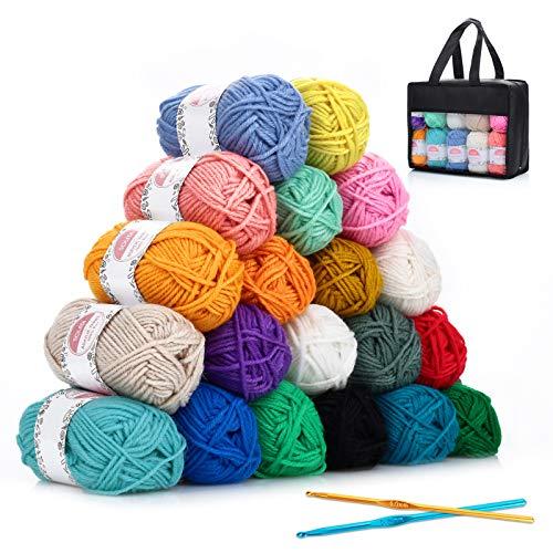 SOLEDI Acrylic Yarn 25gX20 Skeins Bonbons Yarn for Crochet Knitting Assorted Rainbow Colors