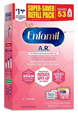 Enfamil A.R. Infant Formula - Clinically Proven to Reduce Spit-Up in 1 week - Refill Pack 32.2 oz Omega 3 DHA & Iron, Thickened with Rice Starch (Package May Vary)