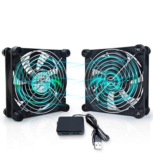 USB Computer Fan 120mm Cabinet Fan for Electronics DC 5 Volt Computer Fan Quiet USB Cooling Fan for Computer Case CPU Routers Receiver Cabinets Cooling (2 Pack)