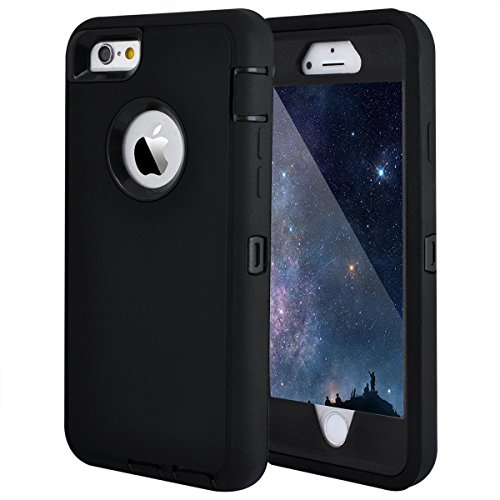 MAXCURY iPhone 6 Case iPhone 6s Case Heavy Duty Shockproof Series Case for iPhone 6/6S (4.7')-V2 with Built-in Screen Protector Compatible with All US Carriers - Black