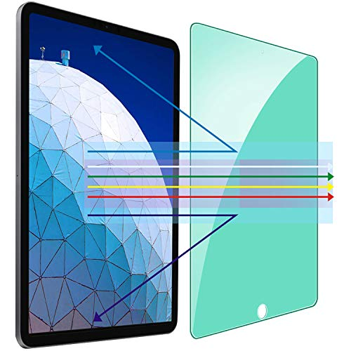 Tiietone Green Light Eye Protection Screen Protector for iPad 8/7 (10.2-Inch, 2020/2019 Model, 8th / 7th Generation) Anti Blue Light Anti UV, HD Clear Tempered Glass Film Anti-Scratch