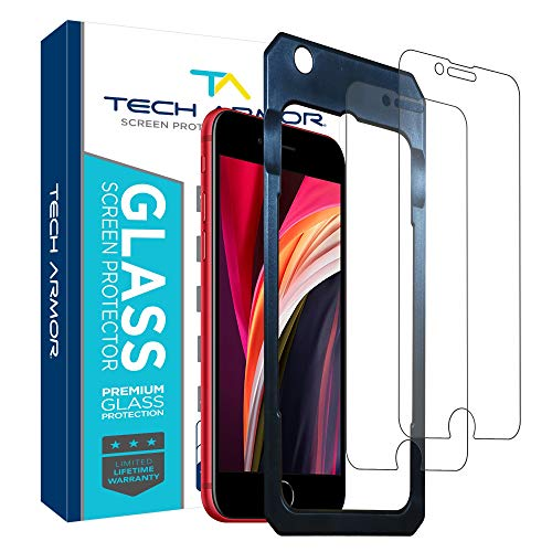 Tech Armor Ballistic Glass Screen Protector for Apple iPhone SE 2020 / iPhone 6 / 6S, iPhone 7, iPhone 8 (4.7') - 99.99% Clarity and 3D Touch Accuracy [2 -Pack]