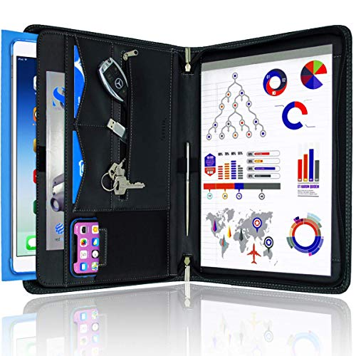 STYLIO Zippered Padfolio Portfolio Binder, Interview Resume Document Organizer. Binder Organizer For iPad/Tablet (up to 10.1'), Phone & Business Cards. Faux Leather Data Case with Letter-Sized Notepad