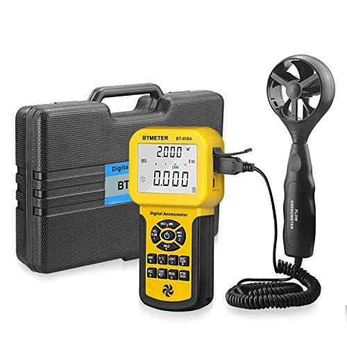 BTMETER BT-856A Pro CFM Anemometer Measures Wind Speed, Wind Flow, Wind Temp for HVAC Air Flow Velocity Meter with USB