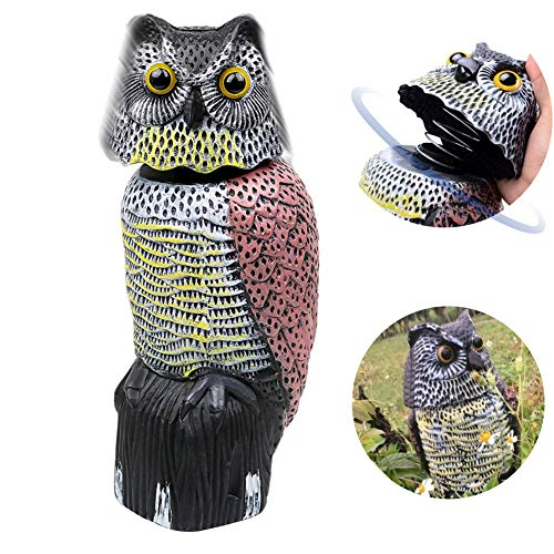 Owl Decoy 360 Rotate Head, Scarecrow Fake Owls Natural Enemy Realistic Owls to Scare Birds Away