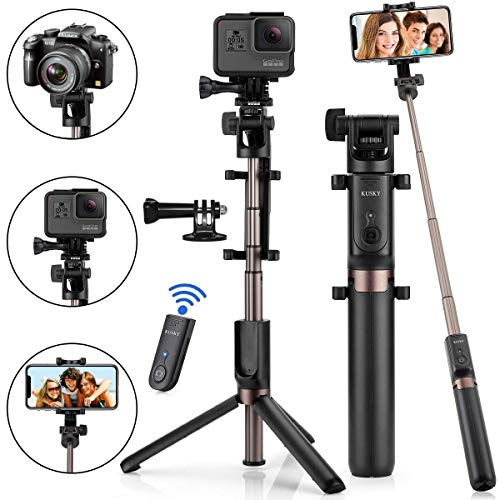 Selfie Stick Bluetooth, 4-in-1 Extendable Selfie Stick Tripod with Wireless Remote Shutter for iPhone 11/Pro Max/XS/Max/XR/X/8/8P/7/7P/6S, Galaxy S10/S9/S9 Plus/S8/S7/ S6/S5/Note 8, Huawei and More