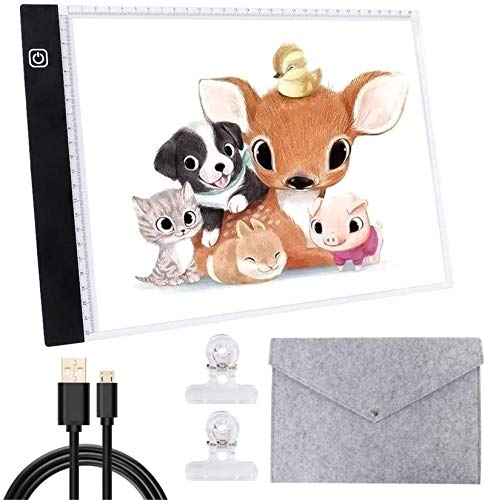 A4 Light Board Portable LED Tracing Light Box Adjustable Light Drawing Pad USB Powered with Felt Bag and Clips for Artists Drawing 5D DIY Diamond Painting Craft Sketching and Animation Design