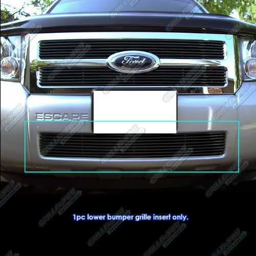 APS Compatible with 2008-2012 Ford Escape Black Main Upper Billet Grille Grill Insert F65784H