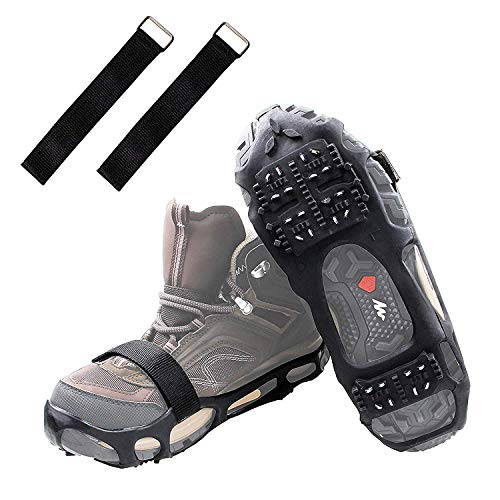 Shaddock Fishing Ice Cleats Ice Crampons Snow Grippers, 24 Spikes Traction Cleats for Boots Shoes Men Women Kids Anti Slip Spike Shoes Stretch Footwear for Hiking Walking Mountaineering(Large)