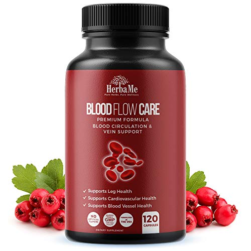 HerbaMe Blood Circulation Supplement, 120 Capsules, Helps Reduce Spider and Varicose Veins, Supports Vessels, Leg and Cardiovascular Health with Niacin, L-Arginine, Ginger, Cayenne Pepper, Hawthorn