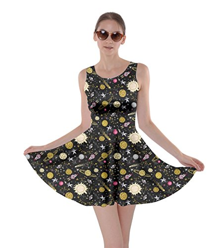 CowCow Womens Space Yellow Skater Dress, Space Yellow - 4XL