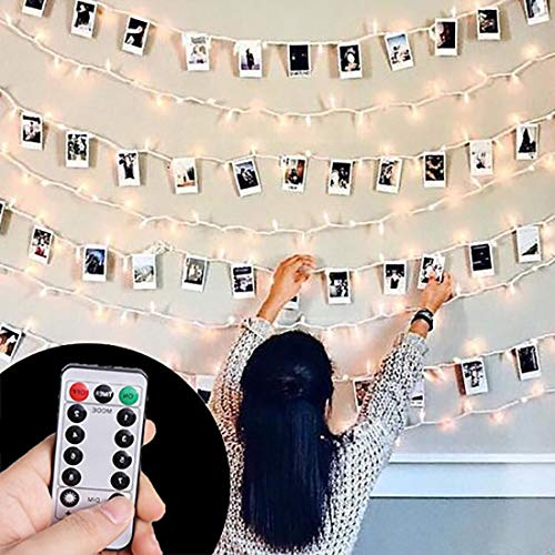 HAYATA [Remote & Timer] 40 LED Wooden Photo Clip Light String Lights - 23ft Fairy Battery Operated Hanging Picture Frame Lighting for Party Wedding Dorm Bedroom Birthday Christmas Decorations