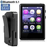 MP3 Player, MP3 Player with Bluetooth, 32GB Clip MP3 Player with FM Radio/Voice Recorder, Music Player with Touch Full Screen, Video Play, 2.4Inch MP3 Player for Running, Expandable 128GB TF Card