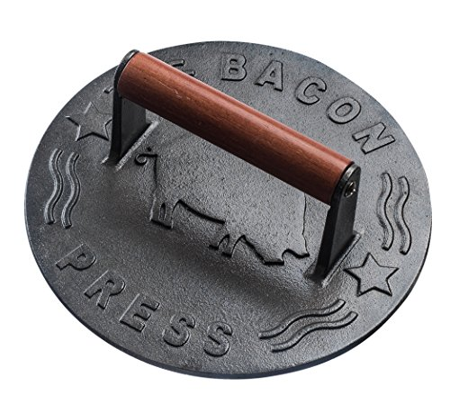 Bellemain Cast Iron Grill Press, Heavy-duty bacon press with Wood Handle, 8.75-Inch Round