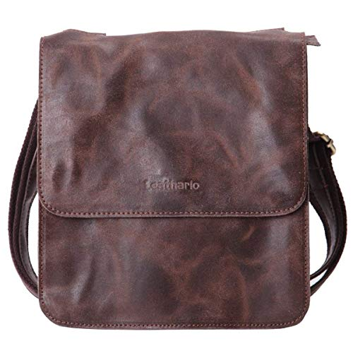 Leathario Leather Shoulder Bag Men's Retro Leather Messenger Bag Crossbody Bag Satchel Bag Ipad Bag 11 inch Brown