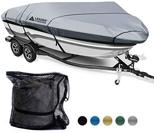 Leader Accessories 600D Polyester 5 Colors Waterproof Trailerable Runabout Boat Cover Fit V-Hull Tri-Hull Fishing Ski Pro-Style Bass Boats,Full Size (16'-18.5'L Beam Width up to 94'', Grey)