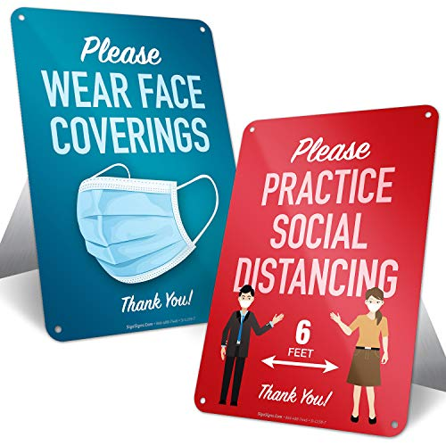 Social Distancing Sign, Mask Required Sign, Combo Pack (2 Signs) Countertop Signs with Fold Out Easel, 10x7 Inches, Rust Free .040 Aluminum, Indoor/Outdoor Use, Made in USA by SIGO SIGNS