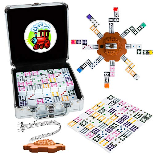 Tocebe Dominoes Set, Mexican Train Dominoes for Travel, 91 Tiles Mexican Train with Aluminum Case for Kids and Families