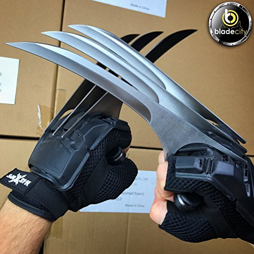 Blade City Wolverine Claws - Wolverine Accessories for Xmen Costume or Marvel Cosplay - 2x9 Inch Metal Blades with Wood Handle Scales (Gloves Not Included)