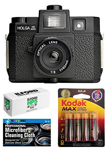 Holga 120GCFN Medium Format Film Camera with Built-in Flash with Ilford HP5 120 Black and White Film Bundle with Accessories