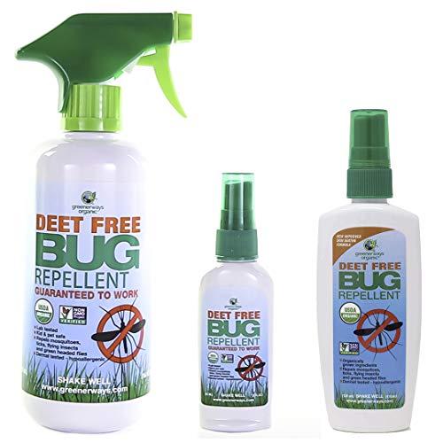 Greenerways Organic, Insect Repellent, Bug Spray, Premium, USDA Organic, Non-GMO, Mosquito-Repellent, Clothing, Kid, Pet Friendly, DEET Free, 3-Pack Deal (1) 2oz (1) 4oz (1) 16oz