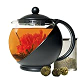Primula Half Moon Teapot with Removable Infuser, Blooming and Loose Leaf Tea Maker Set, Stainless Steel Filter, Borosilicate, Dishwasher Safe, 40-Ounce, Black/Glass