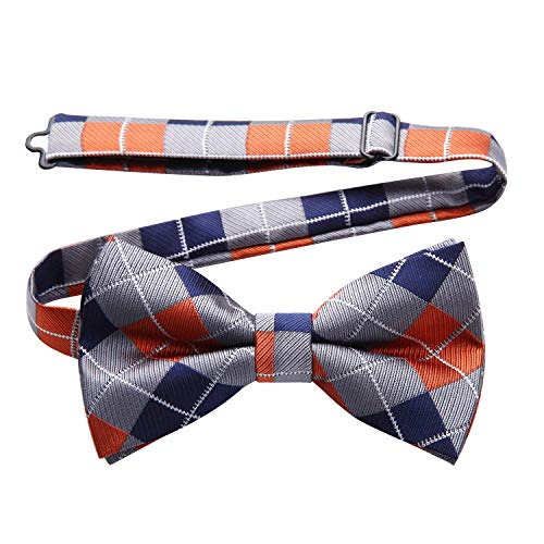 Enlision Pre-Tied Bow Tie Stripe Adjustable Formal Bowties Neck Tie for Men & Boys Orange/Gray