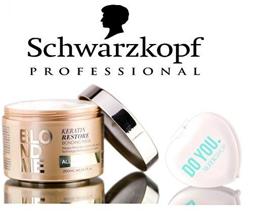 Schwarzkopf Blond Me Keratin Restore Bonding Mask - ALL BLONDES (with Sleek Compact Mirror) (6.7 oz / 200ml - retail size)